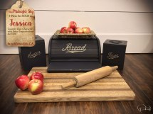 $80 ~ 'Midnight Sky' Breadbox & 2-Piece Canister Set ~ SOLD to Jessica
