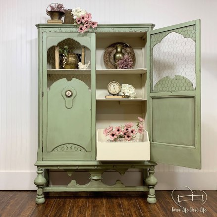 July 2019 ~ Soft Sage Farmhouse Green Cabinet